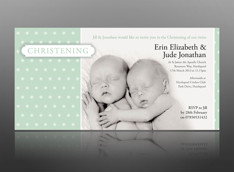 Thank you cards invitations wedding baby christening christening invite twins boy girl green modern best stopboris Images