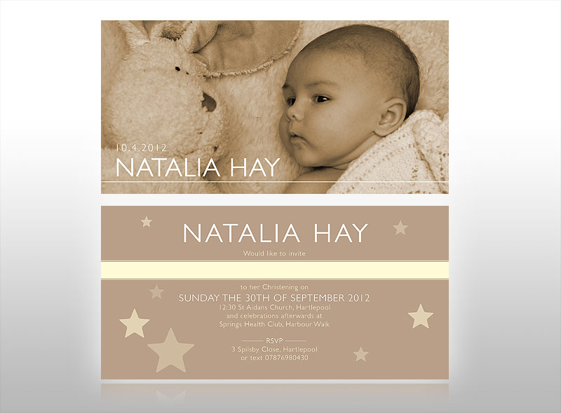 Christening invitation and thank you card design for baby