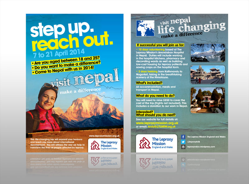 Creative charity leaflet design and printing for nepal charity