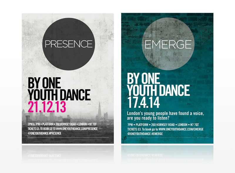 One Youth Dance London Presence & Emerge leaflets