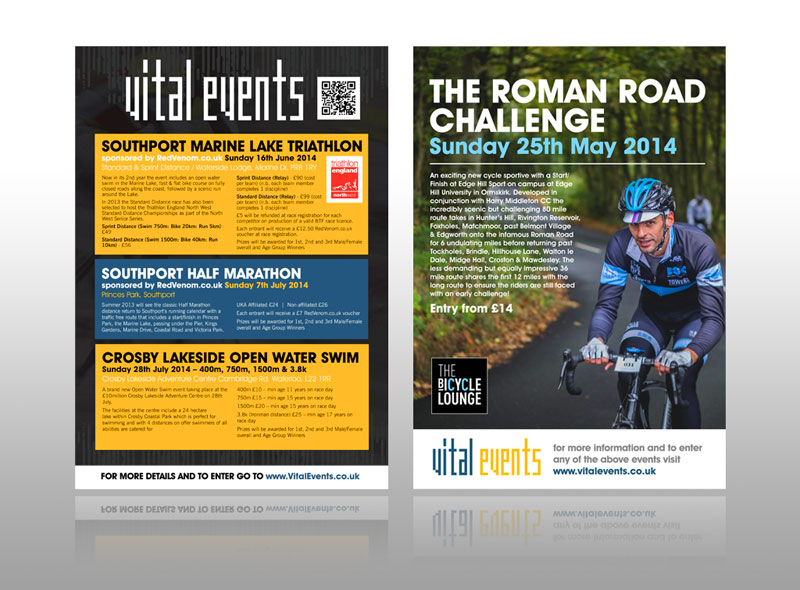 sporting event leaflet for vital events, swimming, cycling running tr