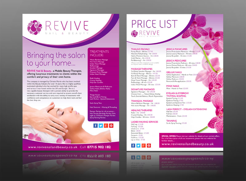 Creative leaflet marketing design work for spas and the for Beauty project ideas