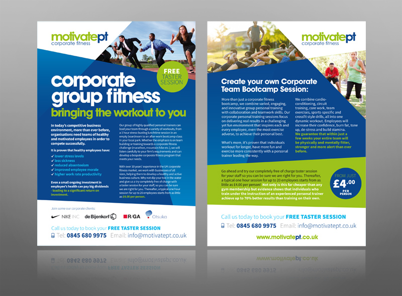 Corporate Fitness Gym Personal Trainer leaflet design logo - best flyer design