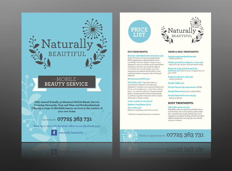 naturally beautiful spa leaflet health beauty vintage flyer design print retro mobile best