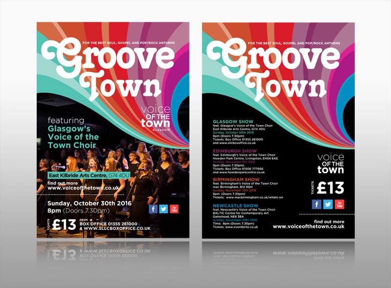 Creative colouful music event leaflet Voice of the Town
