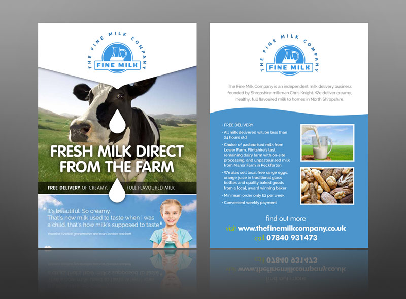 Fine milk delivery food drink leaflet design sample creative