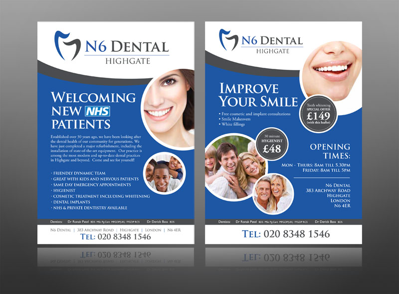 dentist leaflet design flyer logo dental teeth ideas
