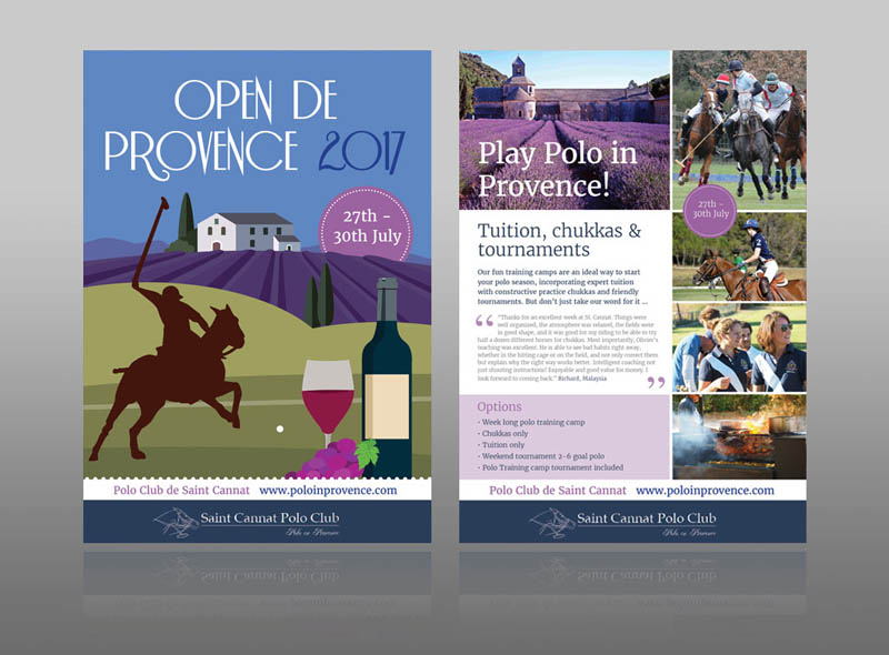 Polo club event leaflet flyer design Provence