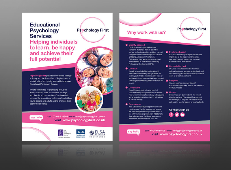 Psychology services leaflet design