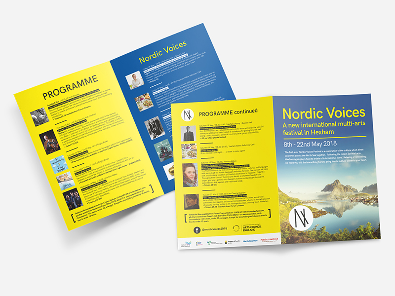 Nordic voices leaflet for a festival based in Hexham near Newcastle-upon-tyne