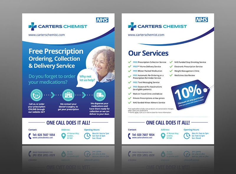 Pharmacy leaflet design layout ideas flyer chemist NHS prescription flyer example