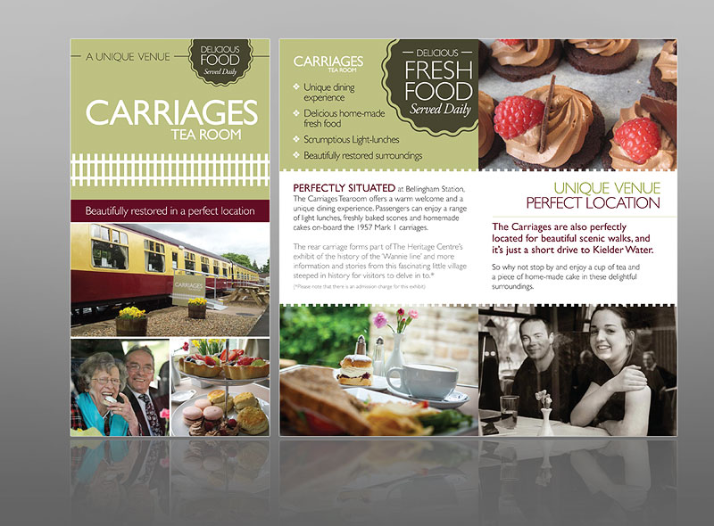 The leaflet/flyer design and print for Carriages tea room near Kielder Water serving delicious fresh food - best flyer design
