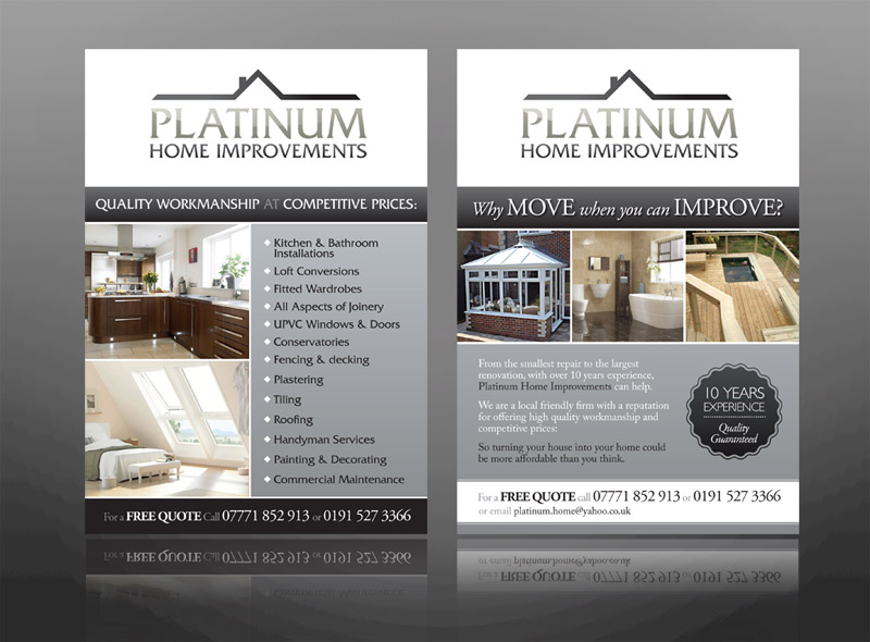 New branding, a logo, brochure, business cards & leaflet design for platinum home improvements, specialising in kitchens, bathrooms and gardens, for bed and breakfasts, hotels in lake district, keswick, windermere and ambleside