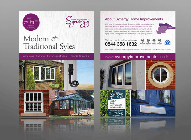 leaflet design for synergy home improvements - windows, doors, conservatories, fascia & soffits