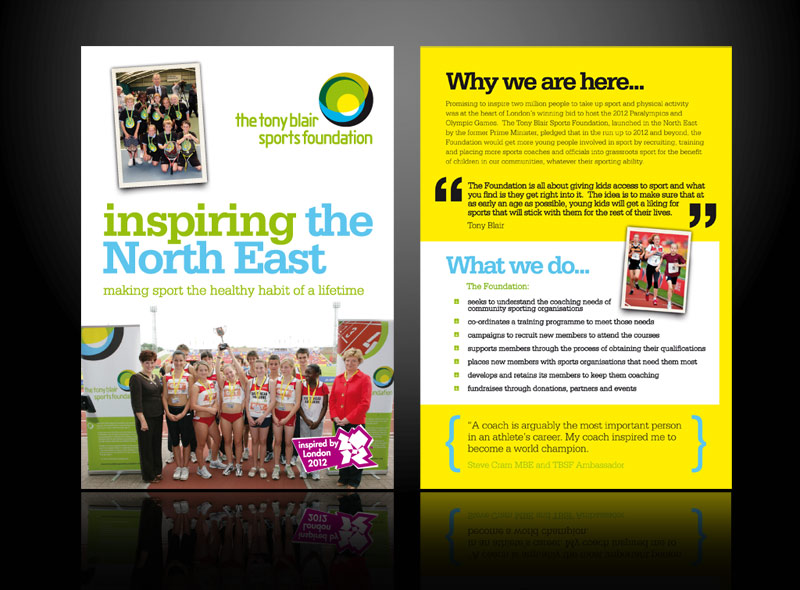 leaflet design for Tony Blair Sports Foundation