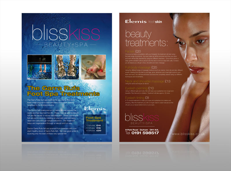 spa beauty & health leaflet design for boutique hotel elemis, keswick, windermere, ambleside, langdale