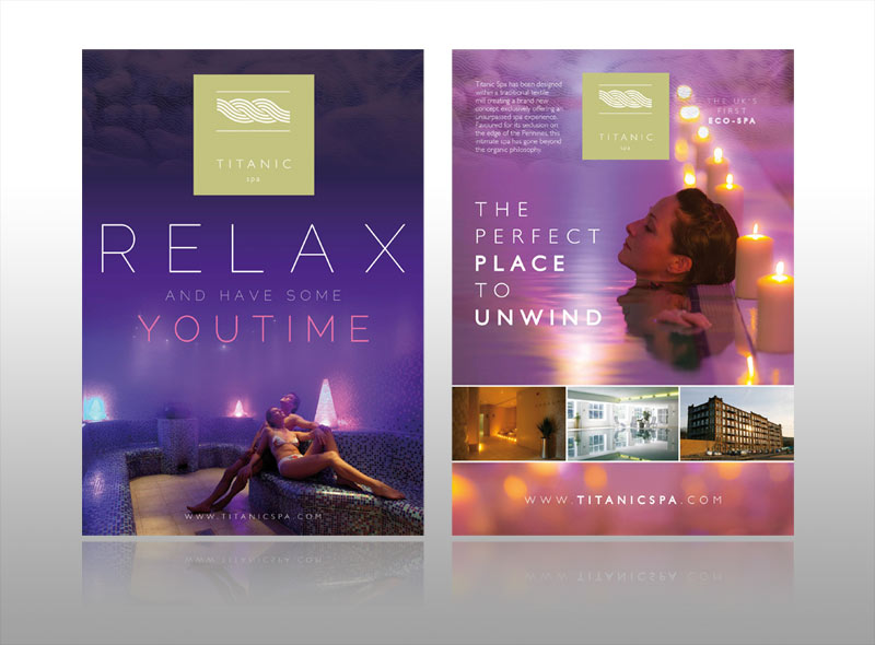 spa leaflet design titanic spa, luxury boutique hotel