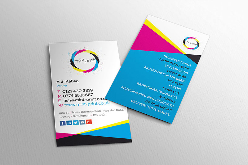 A personal letterhead business card printing and design service mint print business card design colourmoves Image collections